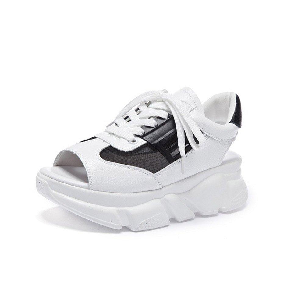 Frauen Schuhe Mikrofaser Sommer Komfort Sandalen Atmungsaktive Wanderschuhe Plattform Peep Toe Fuuml;r Casual Weiszlig;, Schwarz, Rosa  36 EU|C