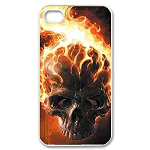 iPhone 4/4s Case,Skull & Flame Hard Shell Case for iPhone 4/4s White Yearinspace069488