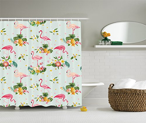 Style Plumeria Flower (Ambesonne Flamingo Decor Collection, Flamingo Bird and Tropical Flowers Fruits Pineapples Plumeria Vintage Style Art, Polyester Fabric Bathroom Shower Curtain, 75 Inches Long, Pink Salmon Coral Green)