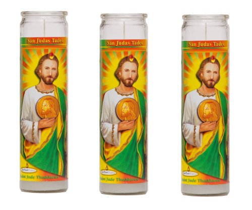 St Jude Religious Prayer Candles 3 Pack / Saint Jude Candles Novena Vigil 3 Pack