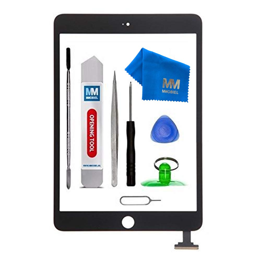 MMOBIEL Digitizer Repair Kit for IPAD Mini 3 (Black) 7.9 Inch Touch Screen Front Display Assembly Incl Flex Camera Holder and Pre Installed Adhesives with Tool kit