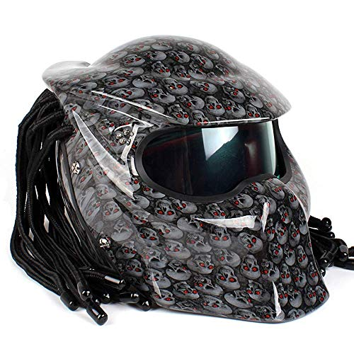 DYM258 Motorcycle Jagged Warrior Predator Helmet Front Flip Open D.O.T Certified Motorbike Riding Harley Retro Scorpion Mask Cross-Country with Braid and LED Light,Silvergrey,XL61~62CM