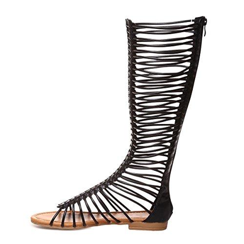 Simili Sandales Spartiate Montantes La Style Noir Cuir Modeuse en Hn6xWp