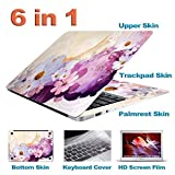 Zwish Flowers Removable 6 in 1 Ultra Thin Full Body Vinyl Art Skins Decal Sticker for Apple Macbook Pro 13.3inch Set w/ Screen Film,Keyboard,Palmrest, Trackpad, Upper & Bottom Protective Skin