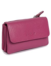 SADDLER Magenta Triple Gusset Purse with Additional Rear Zipped Coin Section
