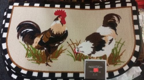 The Pecan Man 2 ROOSTER Black , D shape PRINTED KITCHEN RUG (non skid back) ,1Pcs 18x30