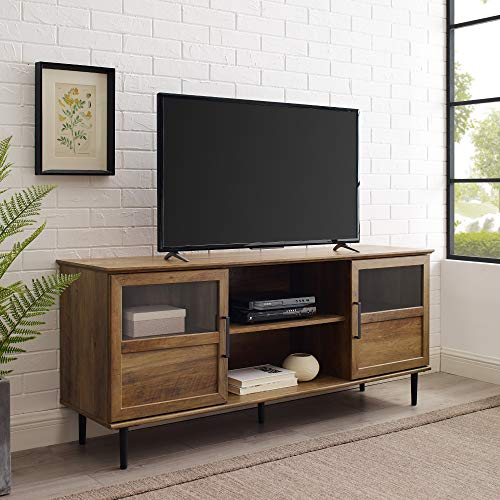 WE Furniture Open Storage TV Stand with Door Cabinets for Living Room, 58