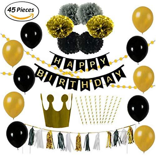 Birthday Party Decoration Pack-10 Gold & Black Balloons-6 Gold Black & Grey Paper Pompoms-1 Free Hat and 10 straws-15 Black White & Gold Tassels-2 Set gold Garlands-1 Happy Birthday Banner-anniversary