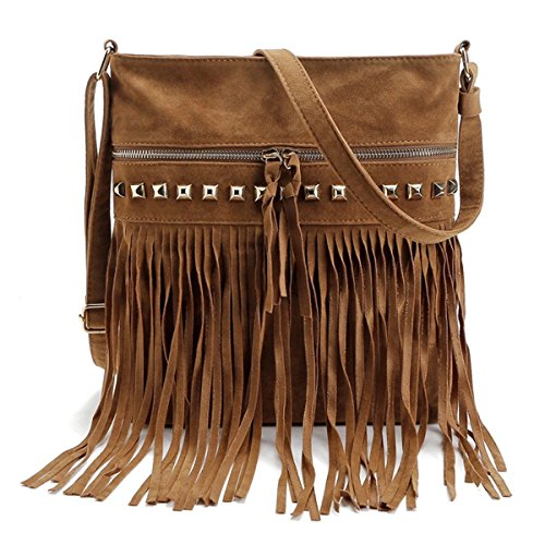 LUI SUI-Euramerican Celebrity Fringe Women Handbag Tassel Shoulder Bag Fashion ToteCr47 (New Brown)