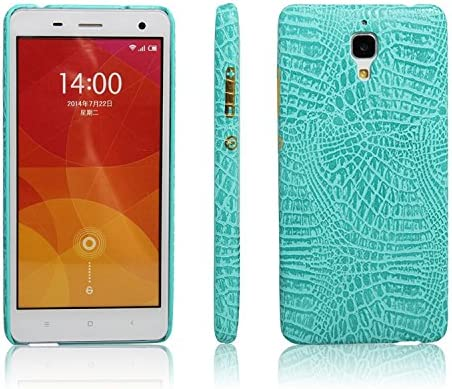 zl one Funda Xiaomi Mi4 PU Cuero Patrón Cocodrilo Bumper Back Case Cover (Verde)