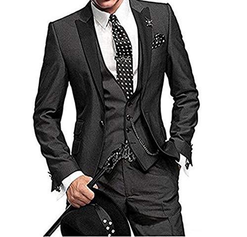 DREFEEL One Button 3 Pieces Black Wedding Suits Notch Lapel Mens Suits Groom ()