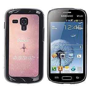 FECELL CITY // Duro Aluminio Pegatina PC Caso decorativo Funda Carcasa de Protección para Samsung Galaxy S Duos S7562 // Airplane Travel Sky Vignette Stars Quote