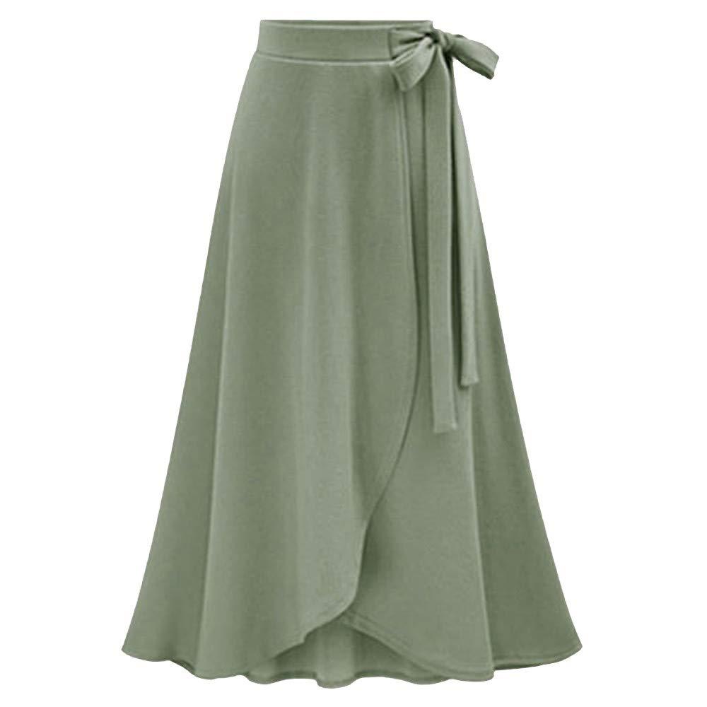 Women Plus Size Long Skirt Lady High Waist Irregular Hem Split Bandage Solid Ankle-Length Skirt Fashion Casual Comfort Dress