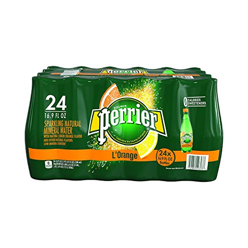 PERRIER L'Orange Flavored Sparkling Mineral Water (Lemon Orange Flavor), 16.9-Ounce Plastic Bottles Count 24 - Pack of 5 by Perrier