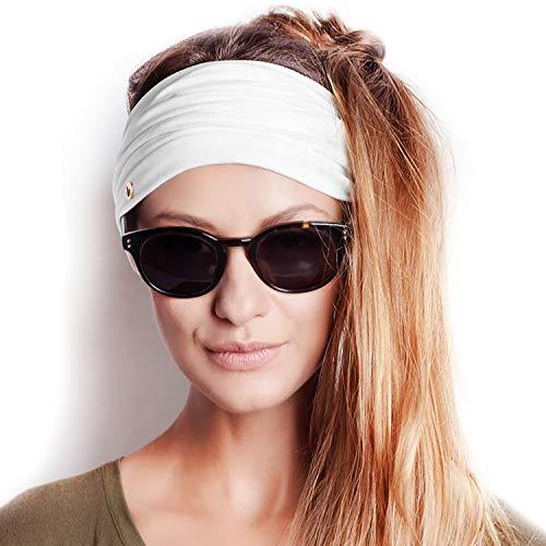 BLOM Original Multi Style Headband. 14+ Styles. Women Yoga Fashion Workout Running Athletic Travel. Wear Wide Turban Knotted + More (Bright (Womens Fabric Headband)
