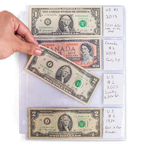 - 4-Pocket Vinyl Bill Sleeves 20 Pages | Bill Holders for Collectors | 6.25 x 2.75 Collecting Album Supplies | Vintage Currency Collection Protection | Great for Coupons, Receipts, and Record Keeping