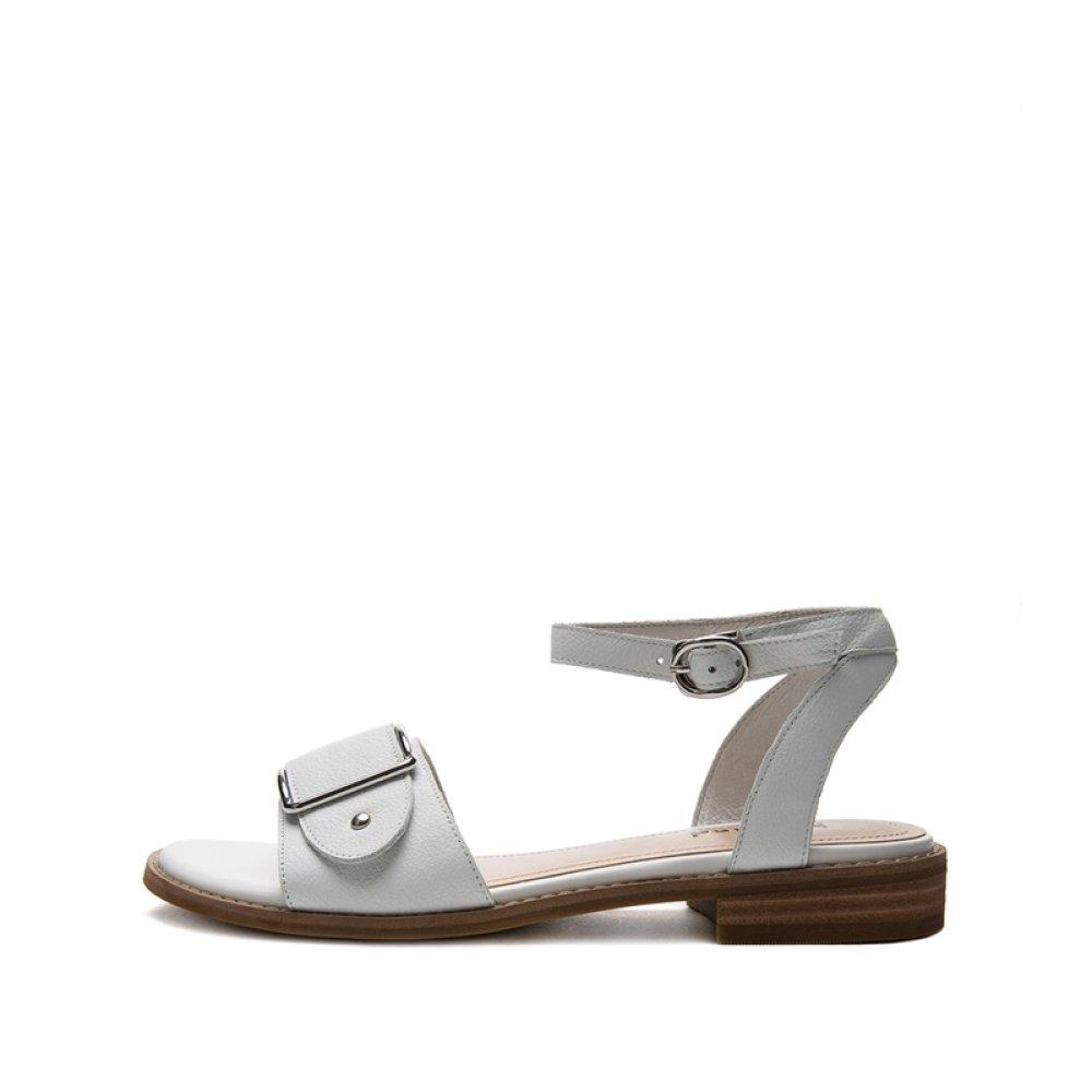 DHG Sandali estivi, Pantofole da donna donna donna alla moda, Sandali piatti casual, Sandali con tacco basso a tacco basso, Tacchi alti,bianca,35  - b4887b