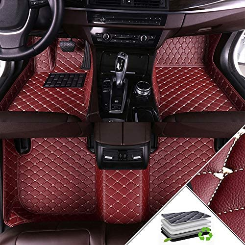 ALLYARD Custom Car Floor Mats for Dodge Dart 2015-2018 All Weather Waterproof Non-Slip Full Covered Protection Advanced Performance Liners Car Liner Wine Red