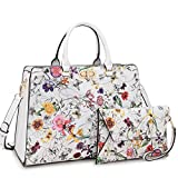 MMK collection Fashion Women Purses and Handbags Ladies Designer Satchel Handbag Tote Bag Shoulder Bags with coin purse (XL-23-7581-White Flower)