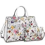 Women's Fashion Handbags Tote Purses Shoulder Bags Top Handle Satchel Purse Set 2pcs 01- White Flower
