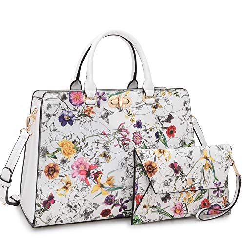 Dasein Women Fashion Handbags Tote Purses Shoulder Bags Top Handle Satchel Purse Set 2pcs White Flower