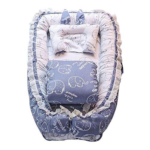 Sleep Nest Pod Portable Foldable Multi-Functional Crib, Quilt and Pillow Sleeping Bed (Color : Blue, Size : 90x55x15cm) ()