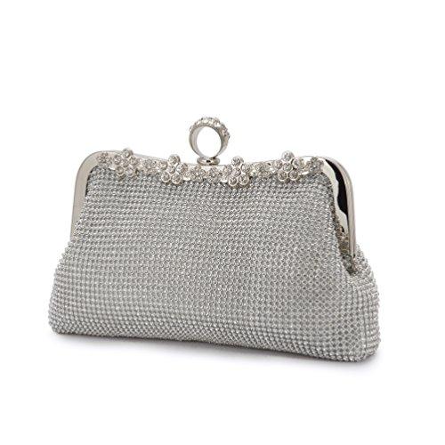 Evening Clutch Bags evening bag silver Handmade Style Finger Ring Handbag Flowers Diamond Rhinestone (Clutch Style Evening Bag)