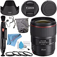 Canon EF 35mm f/1.4L II USM Lens 9523B002 + 72mm Macro Close Up Kit + Deluxe Cleaning Kit + Lens Pen Cleaner + Fibercloth + Lens Capkeeper Bundle