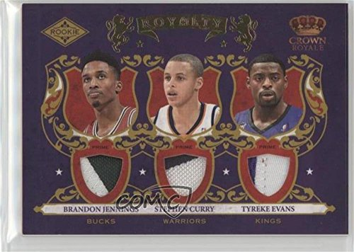 Brandon Jennings; Stephen Curry; Tyreke Evans #17/25 (Basketball Card) 2009-10 Crown Royale - Rookie Royalty - Materials Prime #1