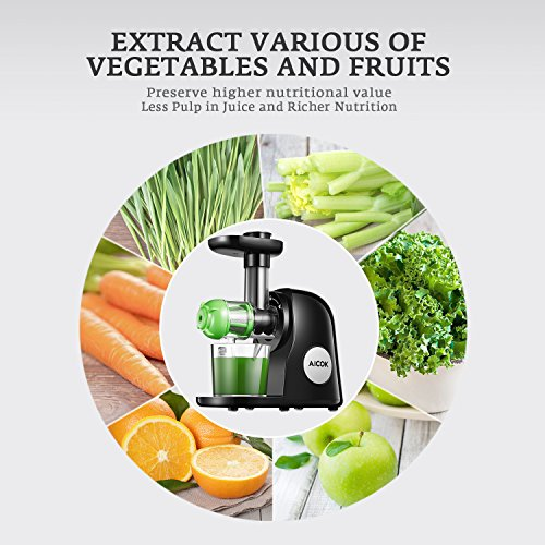 Juicer Masticating Slow Juicer Extractor, Aicok Juice Quiet Motor & Reverse Function, BPA Free, Cold Press Juicer Easy to Clean with Brush, Juice Machine Recipes for Vegetables and Fruits by AICOK (Image #4)'
