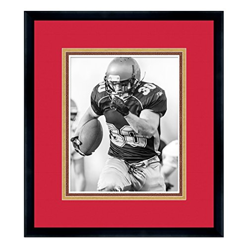 San Francisco 49ers Black Wood Frame for a 8x10 Photo with a Triple Mat - Red, Gold, and Football Textured Mats