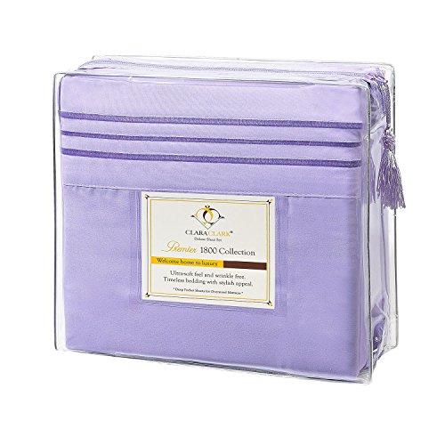 Clara Clark Premier 1800 Series 4pc Bed Sheet Set - Cal King, Lavender