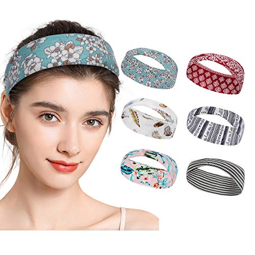 WERFORU 6er BOHO Stirnband Damen Elastisches Blumen Haarband damen Haarreifen Headwrap Haarschmuck Gedruckt Stirnbänder Knoten Verdrehtes
