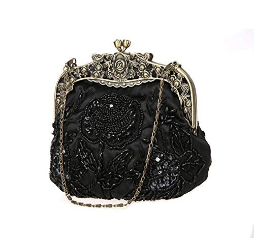 Black Party Women Prom Bag Embroidery Handmade Evening Clutch For Wedding Vintage Evening Glassbeads 4H7wxFZ