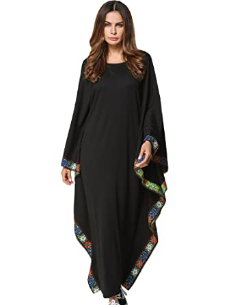 9df35068fd077b MatchLife Damen Kaftan Tunika Kimono Kleid Bat Ärmel Maxi Leinenkleid  Mittelalter lang Kleider Style4-Schwarz