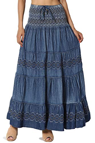 TheMogan Junior's Embroidered Tiered Crinkled Denim Long Maxi Skirt Blue ONE Size 3 Tiered Long Skirt