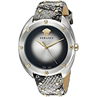 Versace Women's 'SHADOV' Quartz Stainless Steel and Snake Skin Watch, Color:Silver-Toned (Model: VEBM00718)