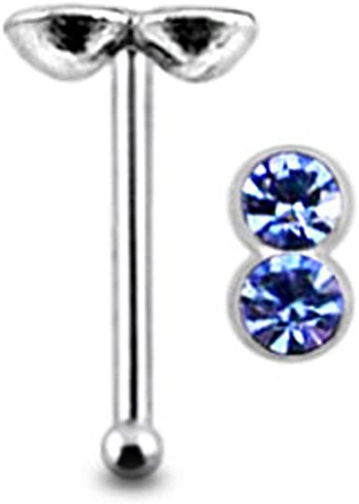 AtoZ Piercing Double Round Gemstone Top 22 Gauge 6MM Length Silver Ball End Nose Stud Nose Pin