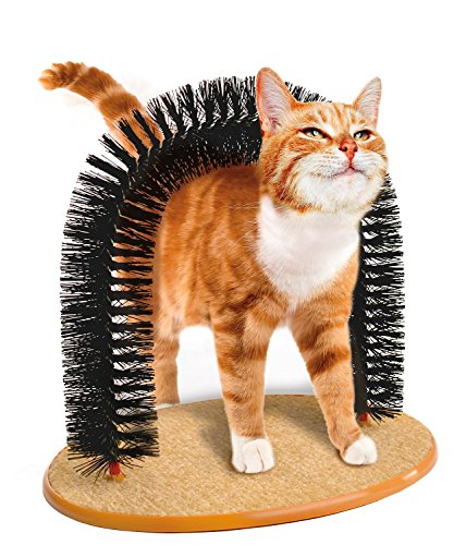 MeowWoof Purrfect Arch Self Groomer with Bag of Catnip, Cat Grooming Arch