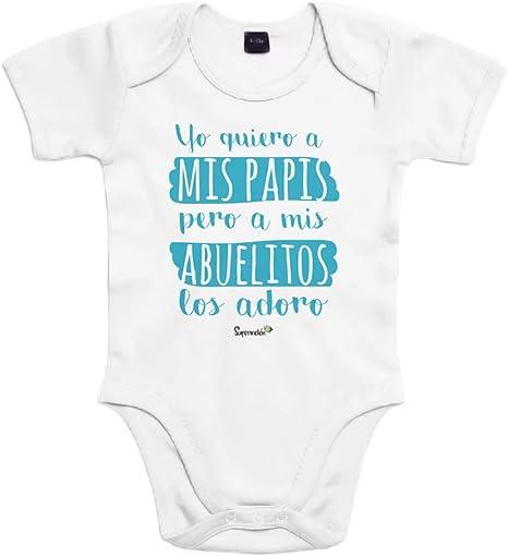 SUPERMOLON Body bebé algodón Yo quiero a mis papis, pero a mis abuelos los adoro 3 meses Blanco Manga corta: Amazon.es: Bebé
