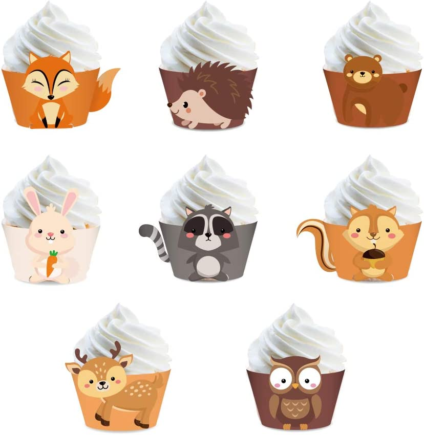 CC HOME 24CT Woodland Cupcake Wrappers, Forest Animal Cupcake Wrappers for Boys Girls,Woodland Baby Shower,Birthday Party Decorations