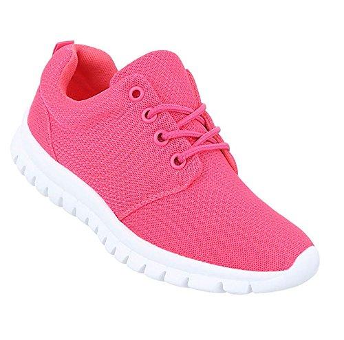 Trendige Unisex Schuhe | Damen Kinder | Sportschuhe Metallic | Turnschuhe Blumen | Sneaker Low Bunt | Glitzer Laufschuhe Schnürer | Schuhcity24 Modell Nr1Pink