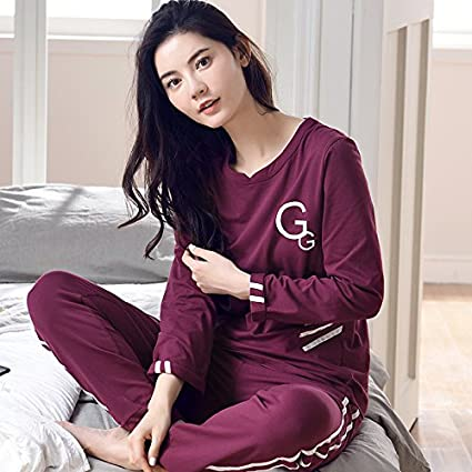 MH-RITA Otoño Invierno de puro algodón de dos piezas Pijama Mujer establece Ocio Nocturno