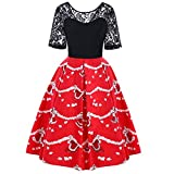 HHei_K Merry Christmas Womens Fashion Santa Claus Print Prom Party A-Line Retro Casual Lace Patchwork Swing Dress