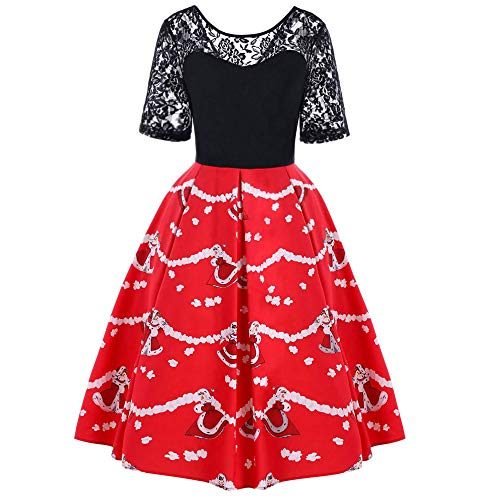 Very Merry Christmas Party Button - Fitfulvan Women Merry Christmas Santa Claus Lace Evening Party Swing Dress(Red,Asian M = US S)