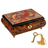 Butterfly and Floral Red Wine Italian Inlaid Wood Jewelry Music Box Plays Once Upon A Dream