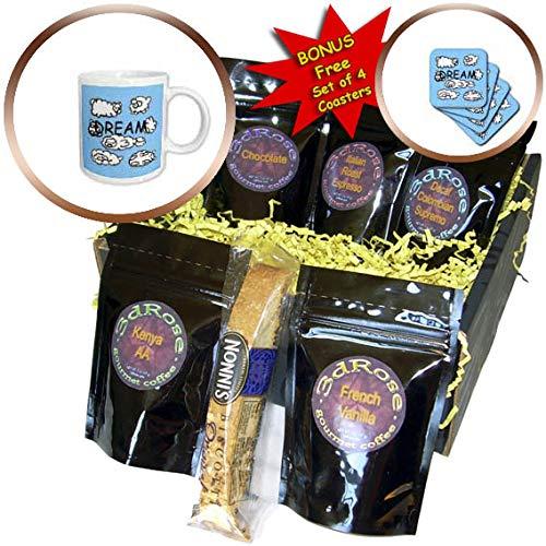 (3dRose BlakCircleGirl - Animal - Dream - Sweet cloud animals around the word dream - Coffee Gift Baskets - Coffee Gift Basket)