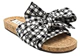 Sugar Women's Xenon Cork Flat Bow Slide Sandal, Black/White Gingham, 7.5 M US