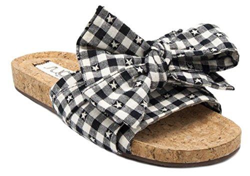 Sugar Womens Xenon Cork Platte Bow Slide Sandaal Zwarte Gingang