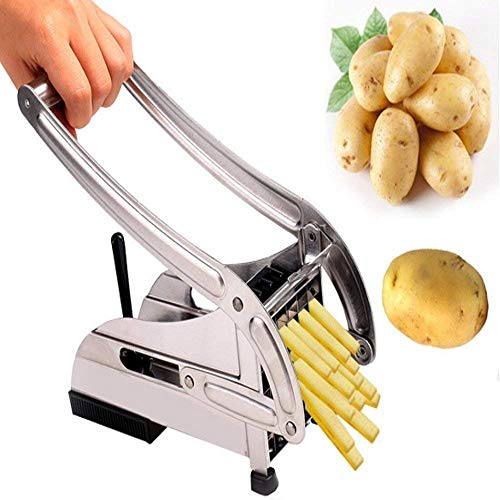 Qualimate French Fries Cutter Machine Potato Slicer for Chips Strip Chopper Kitchen Accessories Items Stainless Steel